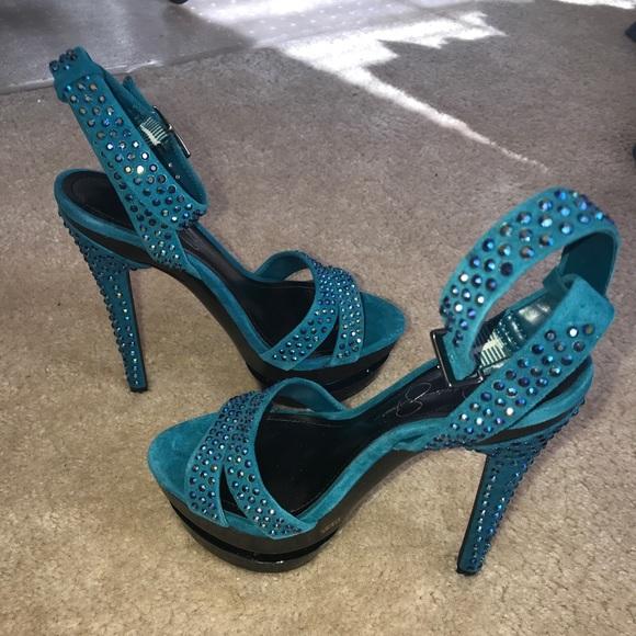 d5e8a260242d87 Jessica Simpson Shoes - Party party! Bling blue sandals! Size 5.5